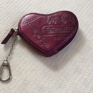 Vintage coach purple change purse with key ring 👛